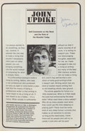 Books:Biography & Memoir, [John Updike]. Self Comments on His Work and the Role of the Novelist Today. EBC, September, 1966. First edition. ...
