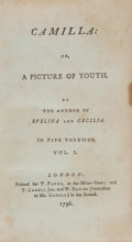 Books:Literature Pre-1900, [Frances Burney]. Camilla: or, A Picture of Youth. London: T. Payne, [et al], 1796. First edition. Jane Austen... (Total: 5 Items)