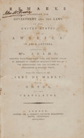 Books:Americana & American History, Gabriel Bonnot de Mably. Remarks Concerning the Government andthe Laws of the United States of America... London: D...