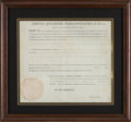 Autographs:U.S. Presidents, Thomas Jefferson and James Madison Land Grant Signed....