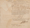 Autographs:Statesmen, [Revolutionary War]. John Hancock Military Appointment Signed....