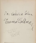 Books:Biography & Memoir, Emma Goldman. Living My Life. New York: 1934. Firstone-volume edition. Inscribed and signed....