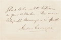 Autographs:Celebrities, Andrew Carnegie Autograph Note Signed.... (Total: 2 Items)
