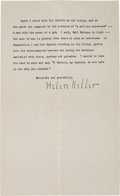 Autographs:Celebrities, Helen Keller Typed Letter Signed and Typed Letter.... (Total: 3Items)