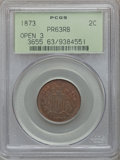 Proof Two Cent Pieces, 1873 2C Open 3 PR63 Red and Brown PCGS....