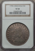 Early Dollars, 1798 $1 Large Eagle, Pointed 9 VF30 NGC. B-24, BB-124, R.2....