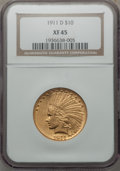 Indian Eagles, 1911-D $10 XF45 NGC....