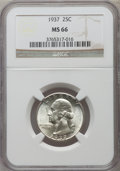Washington Quarters, 1937 25C MS66 NGC. NGC Census: (359/69). PCGS Population: (456/83). CDN: $105 Whsle. Bid for problem-free NGC/PCGS MS66. Mi...