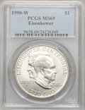 Modern Issues, (3)1990-W $1 Eisenhower Silver Dollar MS69 PCGS. PCGS Population(2339/145). NGC Census: (1845/172). Mintage: 241,669. Numi...(Total: 3 coins)
