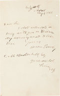 Autographs:Statesmen, Horace Greeley Autographed Note Signed...