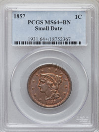 1857 1C Small Date MS64+ Brown PCGS. PCGS Population: (34/7 and 3/0+). NGC Census: (0/0 and 0/0+). CDN: $950 Whsle. Bid...