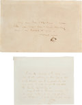 Autographs:Artists, James McNeill Whistler Autograph Letters (2) Signed... (Total: 3 Items)
