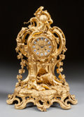 Decorative Arts, French, A LOUIS XV-STYLE GILT BRONZE FIGURAL MANTLE CLOCK, 19th century.Marks: Le Roy HRS Du Roi Envil, 114 Palais Royal. 20-1/...