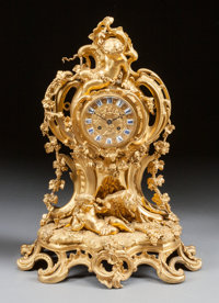 A LOUIS XV-STYLE GILT BRONZE FIGURAL MANTLE CLOCK, 19th century Marks: Le Roy HRS Du Roi Envil, 114 Palais Roya