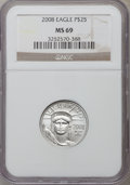 Modern Bullion Coins, 2008 $25 Quarter-Ounce Platinum Eagle MS69 NGC. PCGS Population(1224/262). Numismedia Wsl. Price for p...