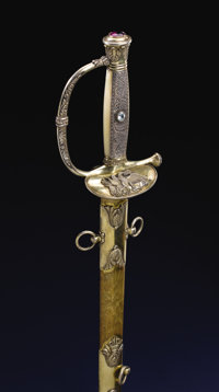 Magnificent Jeweled Ames Presentation Sword to Captain Allen Lowd for Action at Fort Texas (Brown) in 1846