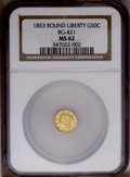 California Fractional Gold: , 1853 50C Liberty Round 50 Cents, BG-421, R.4, MS62 NGC. A cleanpale-gold Period One piece with a single perceptible mark, ...