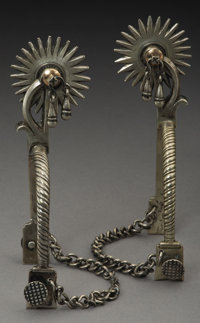 Magnificent Set of Dated American-Made Silver Officer's Spurs, ca. 1840s