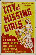 """Movie Posters:Mystery, City of Missing Girls (Select Attractions, 1941). One Sheet (27"""" X41""""). Mystery. Directed by Elmer Clifton. Starring H.B. W..."""