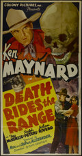 "Movie Posters:Western, Death Rides the Range (Colony Pictures, 1939). Three Sheet (41"" X81""). Western. Directed by Sam Newfield. Starring Ken Mayn..."