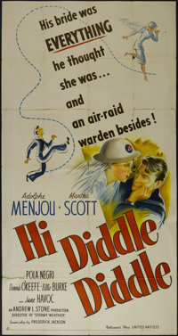 """Hi Diddle Diddle (United Artists, 1943). Three Sheet (41"""" X 81""""). Comedy. Directed by Andrew L. Stone. Starrin..."""