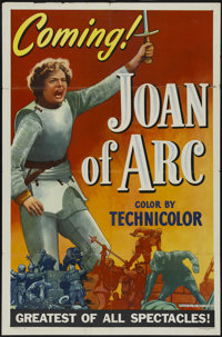 "Joan of Arc (RKO, 1948). One Sheet (27"" X 41"") Style A Advance. Drama. Directed by Victor Fleming. Starring In..."