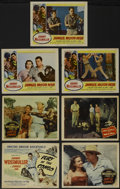 "Movie Posters:Adventure, Jungle Jim Lot (Columbia, 1950-55). Title Lobby Card (11"" X 14"")and Lobby Cards (6) (11"" X 14""). ""Mark of the Gorilla,"" ""Fu...(Total: 7 Items)"
