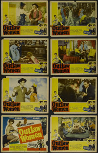 """Outlaw Women (Howco, R-1956). Lobby Card Set of 8 (11"""" X 14""""). Western. Directed by Sam Newfield and Ron Ormon..."""
