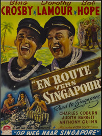"""Road to Singapore (Paramount, Post-War 1950s). Belgian (13"""" X 17.5""""). Comedy. Directed by Victor Schertzinger..."""
