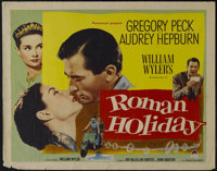 "Roman Holiday (Paramount, 1953). Half Sheet (22"" X 28""). Romantic Comedy. Directed by William Wyler. Starring..."