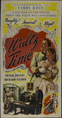 """Waltz Time (Four Continents, 1945). Three Sheet (41"""" X 81""""). Musical. Directed by Paul L. Stein. Starring Caro..."""