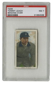 1909-11 T206 Tommy Leach Bending Over PSA NM 7. A tough find in such a high grade, the T206 Tommy Leach we see here has...
