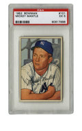 Baseball Cards:Singles (1950-1959), 1952 Bowman Mickey Mantle #101 PSA EX 5. Poignant imagery dominates the offering here, one of Mickey Mantle's most sought a...