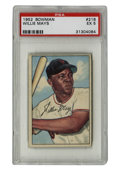 Baseball Cards:Singles (1950-1959), 1952 Bowman Willie Mays #218 PSA EX 5. Yet another strong offeringfrom the '52 Bowman issue, this one featuring the HOF le...