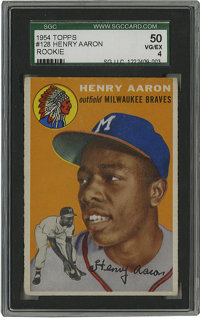 1954 Topps Henry Aaron #128 SGC VG-EX 50. Absent are the print defects so often found in the orange background of this f...