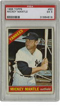 Baseball Cards:Singles (1960-1969), 1966 Topps Mickey Mantle #50 PSA EX 5. Nice example card from the'66 Topps set features the heroic pinstripe legend Mickey...