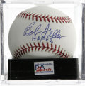"Autographs:Baseballs, Bob Feller ""HOF 62"" Single Signed Baseball, PSA Mint+ 9.5. NiceMint+ example of the Bob Feller single. Ball has been encap..."