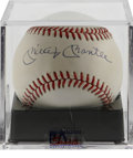 Autographs:Baseballs, Mickey Mantle Single Signed Baseball, PSA NM-MT 8. One of the hottest commodities in the sports market is the Mantle single...