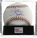 "Autographs:Baseballs, Jim Palmer ""HOF 90"" Single Signed Baseball, PSA Gem Mint 10. Perfect example of the HOF pitcher's signature. Ball has been..."