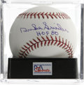 "Autographs:Baseballs, Duke Snider ""HOF 80"" Single Signed Baseball, PSA Gem Mint 10.Perfect gem single from the Duke of Flatbush. Ball has been ..."