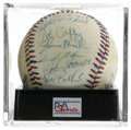 Autographs:Baseballs, 1984 U.S. Olympic Team Signed Baseball PSA NM+ 7. The Silver Medalwinners at the Los Angeles Games celebrate here on this ...