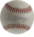 Autographs:Baseballs, Joe DiMaggio Single Signed Baseball. With his elegant swing, alongwith his prowess in center field, the Yankee Clipper won...