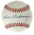 "Autographs:Baseballs, Chas Gehringer Single Signed Baseball. The Michigan second basemanknown for consistency, earning him the nickname ""The Mec..."