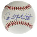 Autographs:Baseballs, Jim Catfish Hunter Single Signed Baseball. Clutch HOF pitcherCatfish Hunter was in control of the majors in the early 1970...