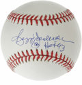 "Autographs:Baseballs, Reggie Jackson ""HOF 93"" Single Signed Baseballs. Perfect blue inksweet spot signature courtesy of Mr. October himself, Reg..."
