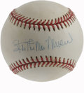 "Autographs:Baseballs, Stan ""The Man"" Musial Single Signed Baseball. Hall of Fame CardinalStan Musial has applied his signature to the sweet spot..."