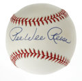 Autographs:Baseballs, Pee Wee Reese Single Signed Baseball. The ten-time Dodger All-Star Pee Wee Reese has applied a perfect blue ink signature to...
