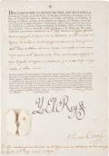 Autographs:Non-American, Charles IV of Spain Document Signed with a Stamp Signature...