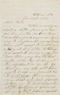 Autographs:Celebrities, Civil War-Era Autograph Letter....