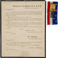 Miscellaneous:Ephemera, [Abraham Lincoln]. Funeral Orders and Ribbon.... (Total: 2 Items)
